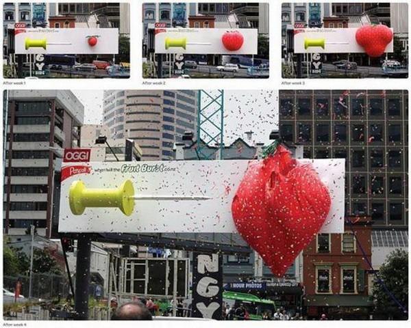 Đây là bảng quảng cáo của một nhãn hiệu bánh kẹo. Nó đã thu hút sự hưởng ứng của người dân khi đưa ra phần thưởng 5.000 USD (tương đương 105 triệu VNĐ) cho người đoán đúng thời điểm quả dâu tây phát nổ.