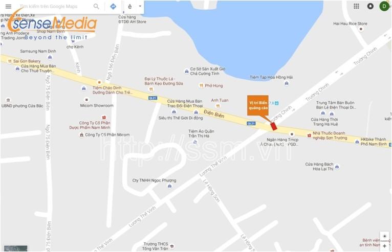 Vị trí biển quảng cáo tấm lớn ( Billboard ) tại 76 Thành Chung – Nam Định