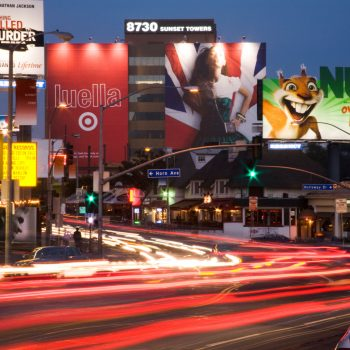 B3MEEP Traffic and Buildings on the Sunset Strip Los Angeles California United States of America