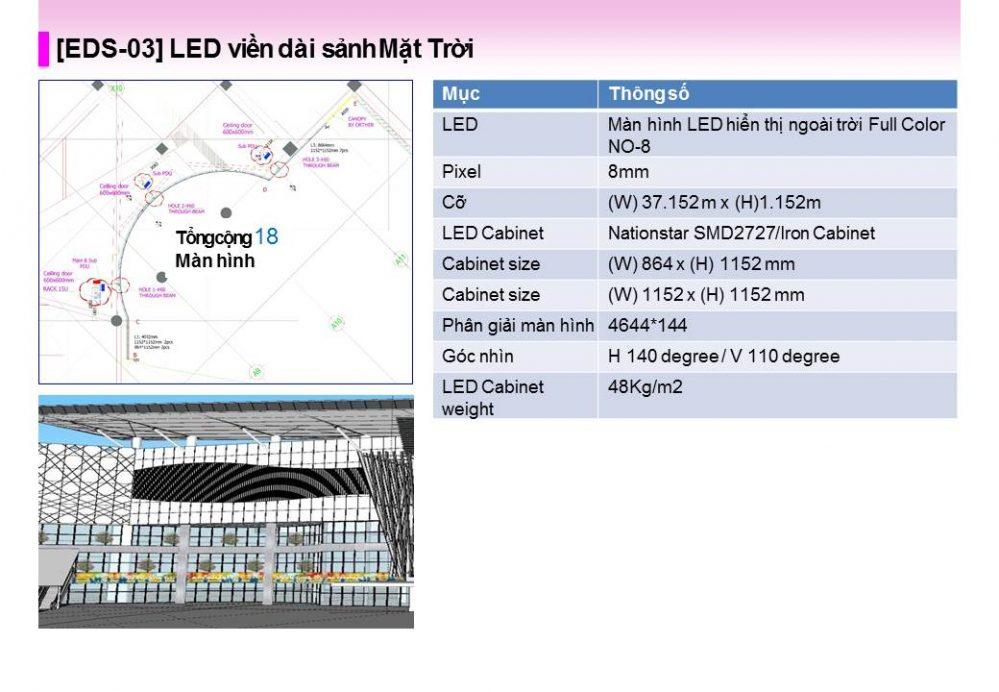 [EDS-03] Màn hình LED quảng cáo ở viền dài sảnh Mặt Trời
