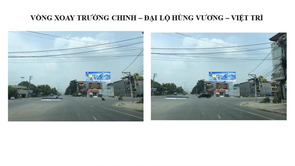 Pano quảng cáo tại Vòng xoay Trường Chinh - Hùng Vương, Phú Thọ