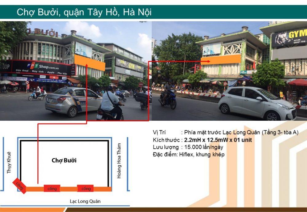 Biển chợ quảng cáo tại chợ Bưởi, Tây Hồ, Hà Nội