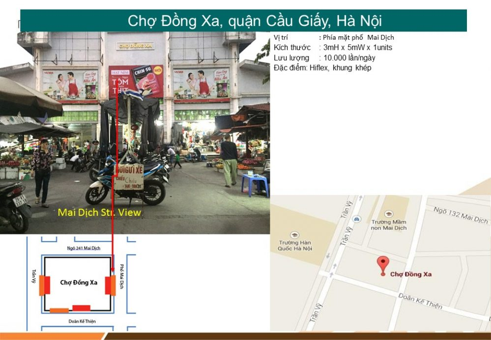 Quảng cáo biển chợ Đồng Xa, quận Cầu Giấy, Hà Nội