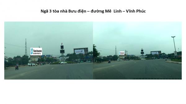 Pano quảng cáo tại Ngã ba Tòa nhà Bưu điện, Vĩnh Phúc
