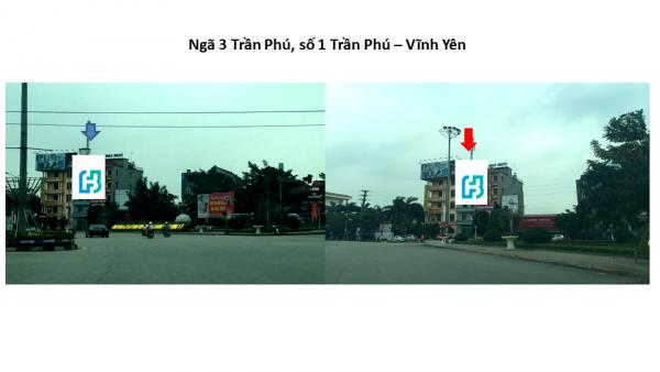 Pano quảng cáo tại Ngã ba Trần Phú, Vĩnh Phúc