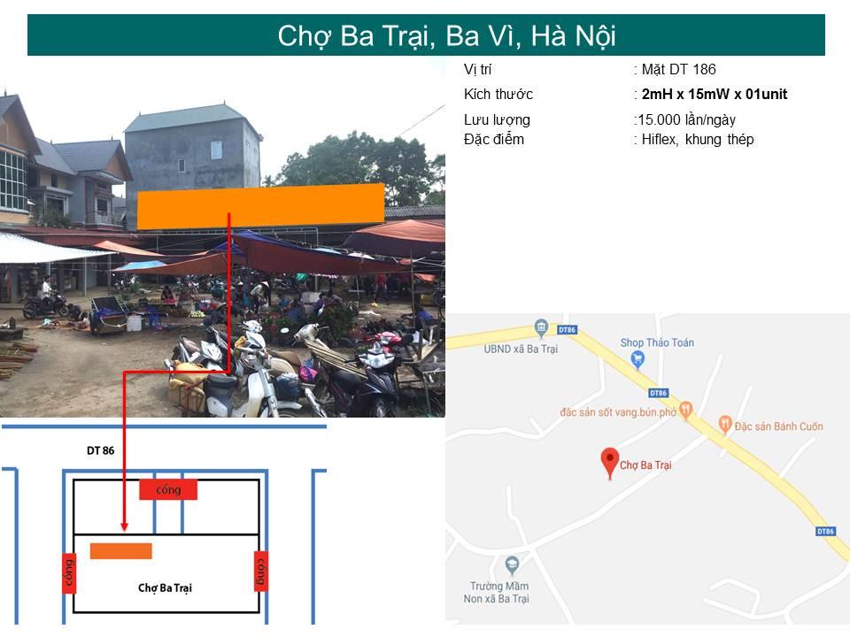 Biển quảng cáo chợ Ba Trại, Ba Vì, Hà Nội