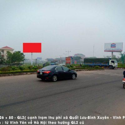 Billboard tại H3/26 + 80 (Ql2), nút giao đường tránhVĩnh Yên, Vĩnh Phúc